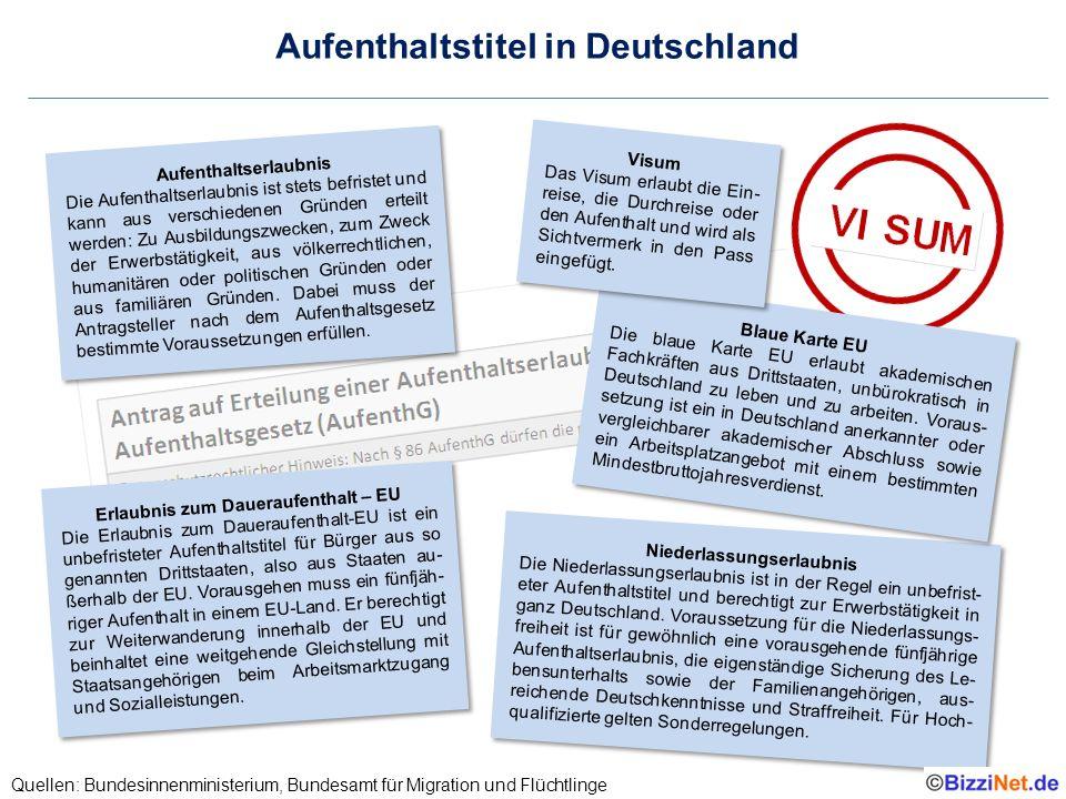 Aufenthaltstitel in Deutschland Quellen: Bundesinnenministerium, Bundesamt für Migration und Flüchtlinge Niederlassungserlaubnis Die Niederlassungserl