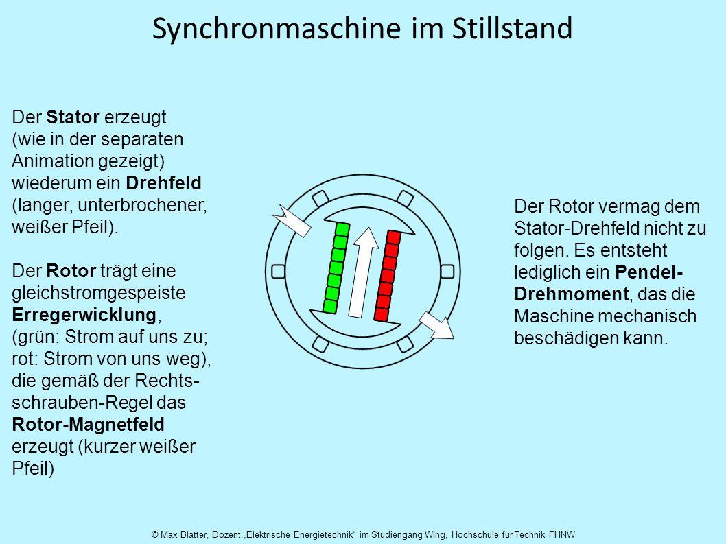 Synchronmaschine im Stillstand Der Stator erzeugt (wie in der separaten Animation gezeigt) wiederum ein Drehfeld (langer, unterbrochener, weißer Pfeil