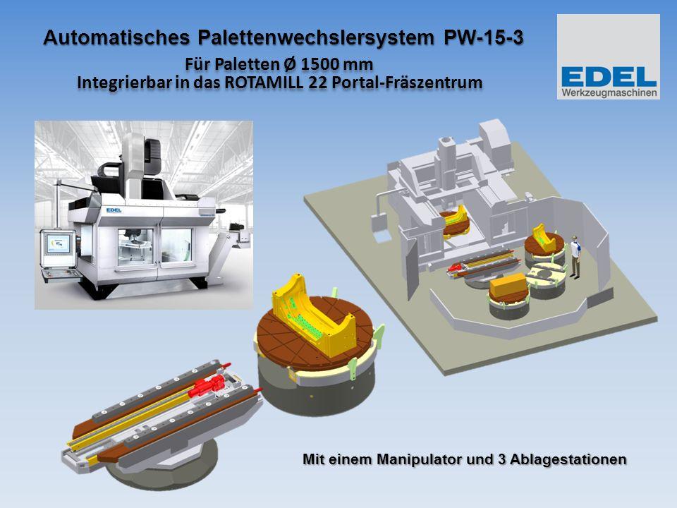 Für Paletten Ø 1500 mm Integrierbar in das ROTAMILL 22 Portal-Fräszentrum Übersicht Das Palettenwechslersystem ermöglicht kontinuierliche Bearbeitung ohne Umspannen von Werkstücken innerhalb der Bearbeitungsmaschine.