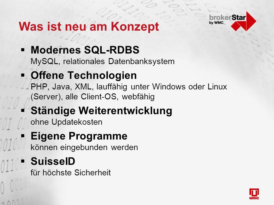 Was ist neu am Konzept  Modernes SQL-RDBS MySQL, relationales Datenbanksystem  Offene Technologien PHP, Java, XML, lauffähig unter Windows oder Linu