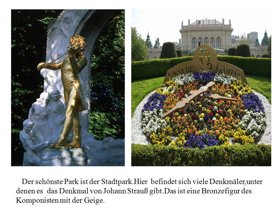 DDer schönste Park ist der Stadtpark.Hier befindet sich viele Denkmäler,unter denen es das Denkmal von Johann Strauß gibt.Das ist eine Bronzefigur des
