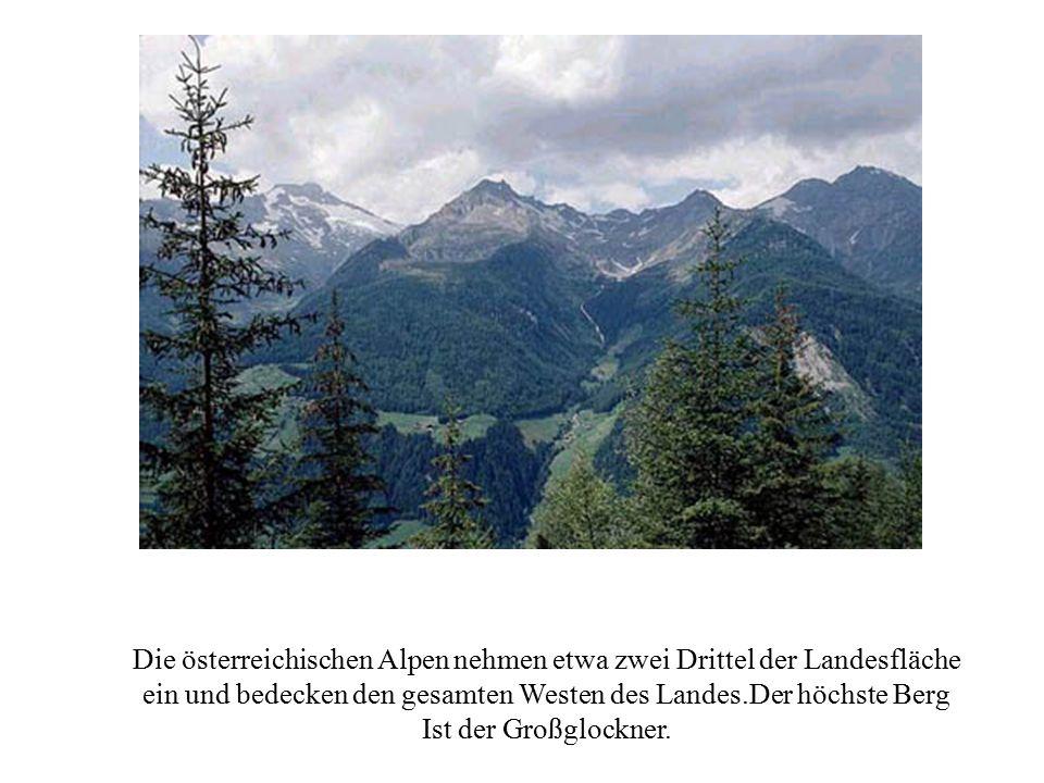 Die österreichischen Alpen nehmen etwa zwei Drittel der Landesfläche ein und bedecken den gesamten Westen des Landes.Der höchste Berg Ist der Großgloc