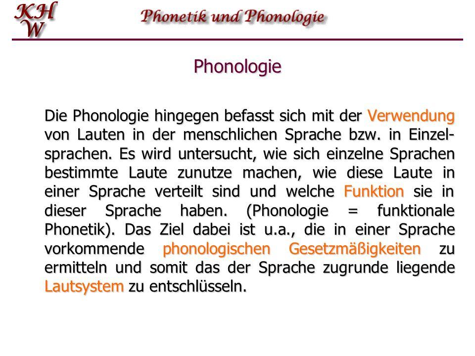 Phonetik Aufgabe der Phonetik ist es, jene Laute zu beschreiben und zu klassifizieren, die durch den menschlichen Sprechapparat hervorgebracht werden können, wobei sich die Beschreibung und die daraus resultierende Klassifikation nicht auf Einzelsprachen beschränkt sondern das gesamte Potential menschlicher Lautbildung zu erfassen sucht.