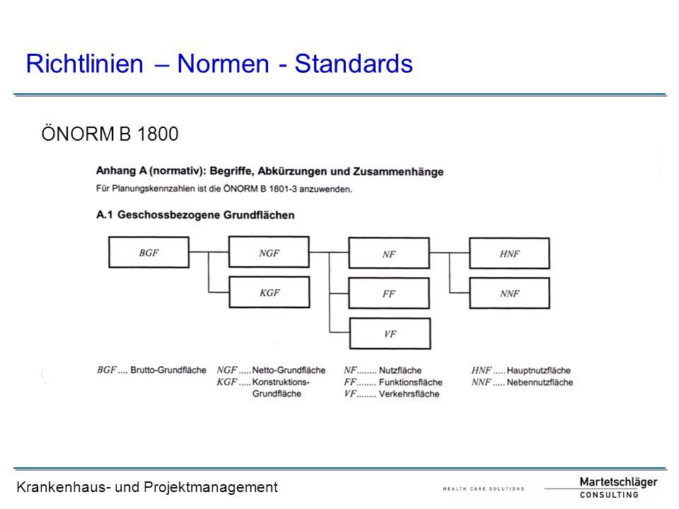 Krankenhaus- und Projektmanagement Richtlinien – Normen - Standards ÖNORM B 1800
