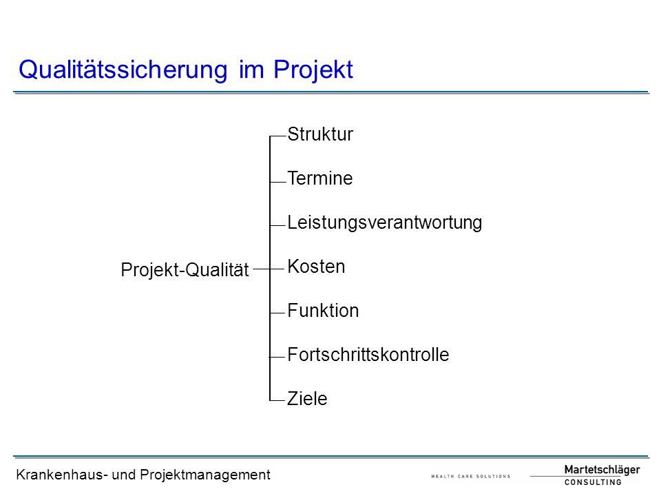 Krankenhaus- und Projektmanagement Qualitätssicherung im Projekt Projekt-Qualität Struktur Termine Leistungsverantwortung Kosten Funktion Fortschritts