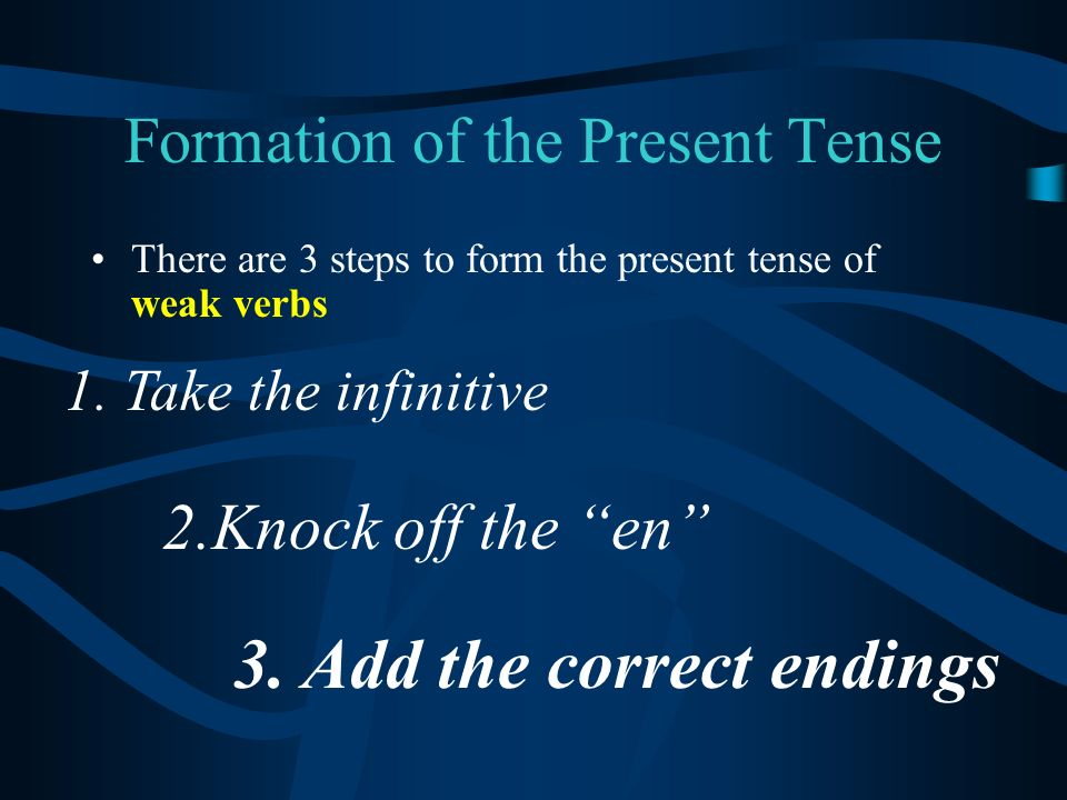 Formation of the Present Tense There are 3 steps to form the present tense of weak verbs 1.