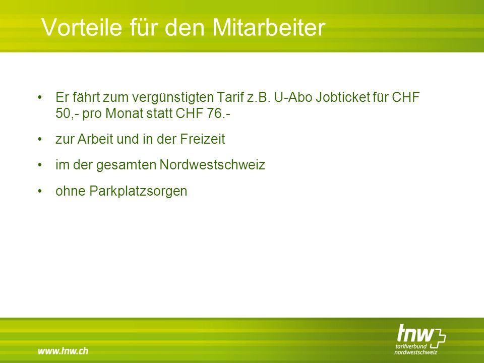 Vorteile für den Mitarbeiter Er fährt zum vergünstigten Tarif z.B. U-Abo Jobticket für CHF 50,- pro Monat statt CHF 76.- zur Arbeit und in der Freizei