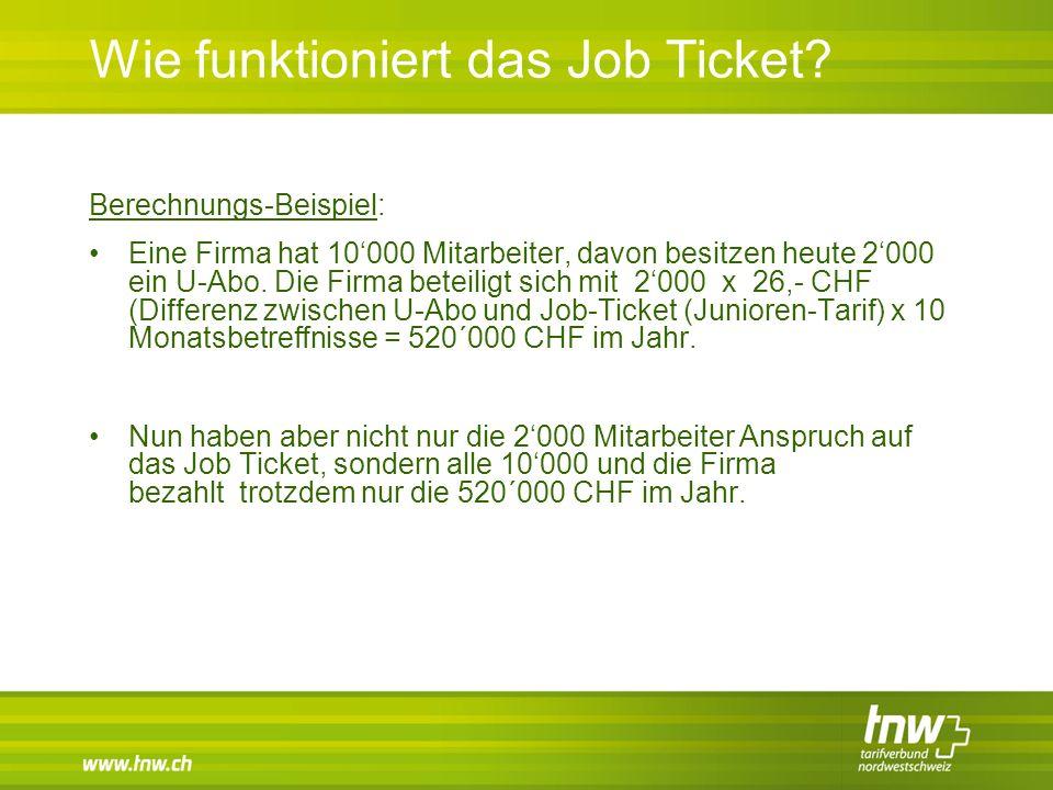 Wie funktioniert das Job Ticket? Berechnungs-Beispiel: Eine Firma hat 10'000 Mitarbeiter, davon besitzen heute 2'000 ein U-Abo. Die Firma beteiligt si