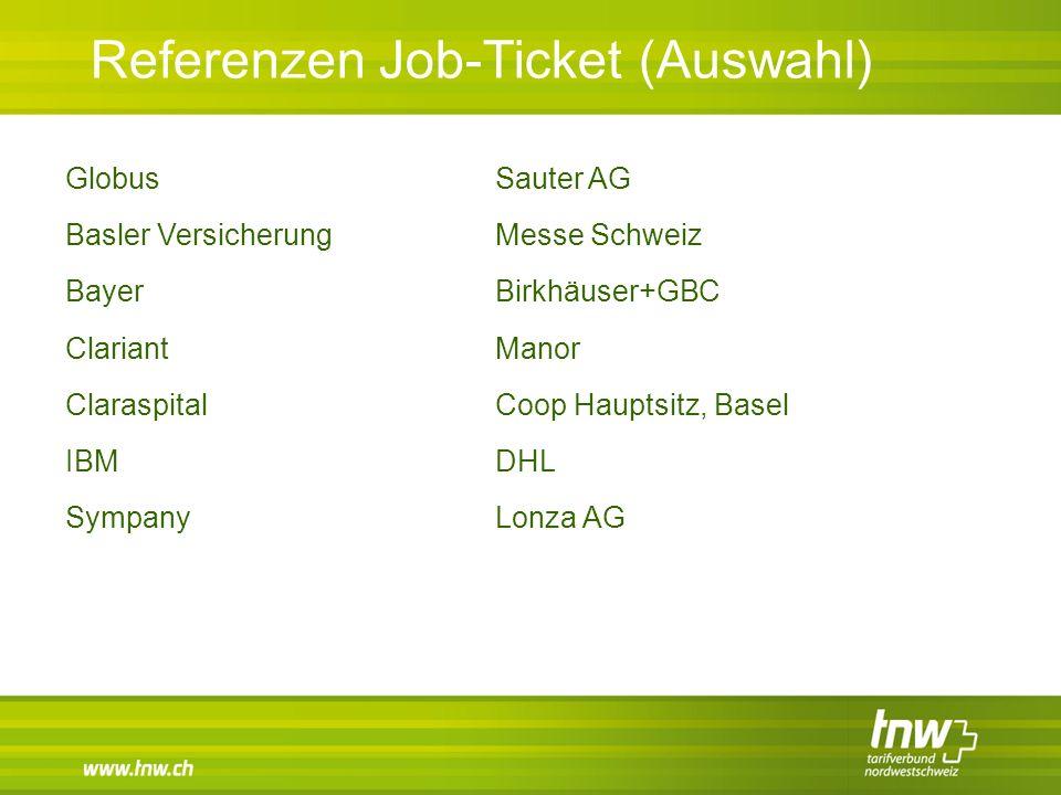 Referenzen Job-Ticket (Auswahl) Globus Basler Versicherung Bayer Clariant Claraspital IBM Sympany Sauter AG Messe Schweiz Birkhäuser+GBC Manor Coop Ha
