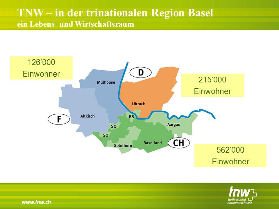 TNW – in der trinationalen Region Basel ein Lebens- und Wirtschaftsraum 215'000 Einwohner 126'000 Einwohner 562'000 Einwohner