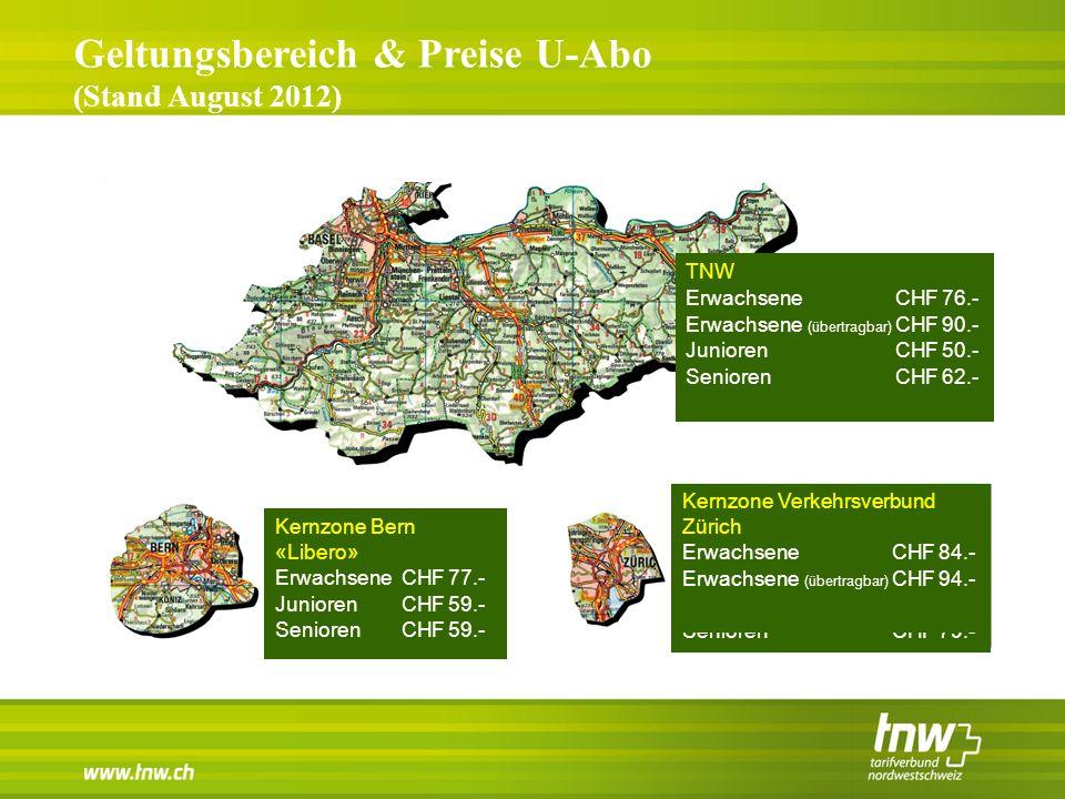 Tarifverbund Nordwestschweiz Bern Zürich Geltungsbereich & Preise U-Abo (Stand August 2012) Kernzone Bern «Libero» ErwachseneCHF77.- JuniorenCHF59.- S