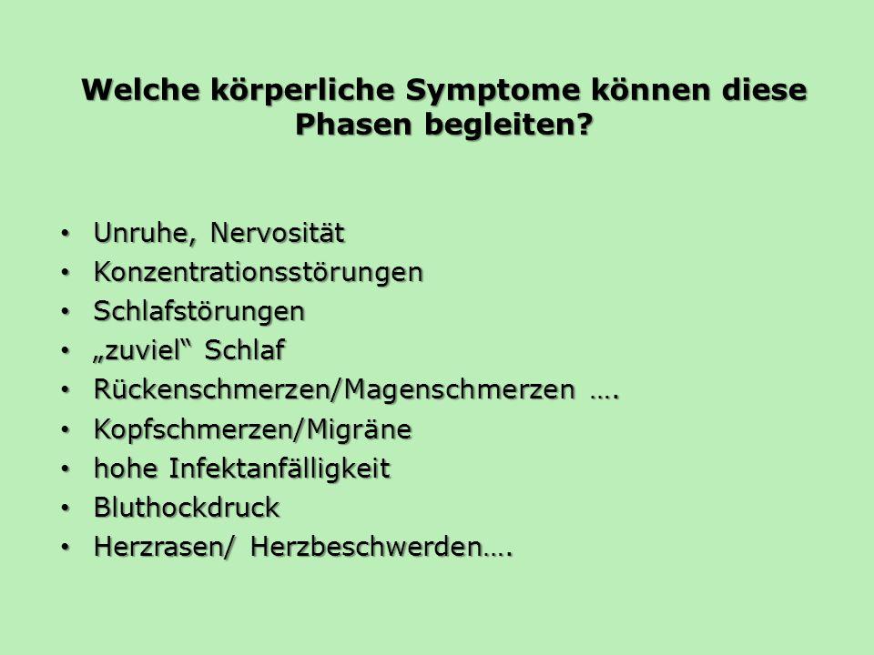 Welche körperliche Symptome können diese Phasen begleiten? Unruhe, Nervosität Unruhe, Nervosität Konzentrationsstörungen Konzentrationsstörungen Schla