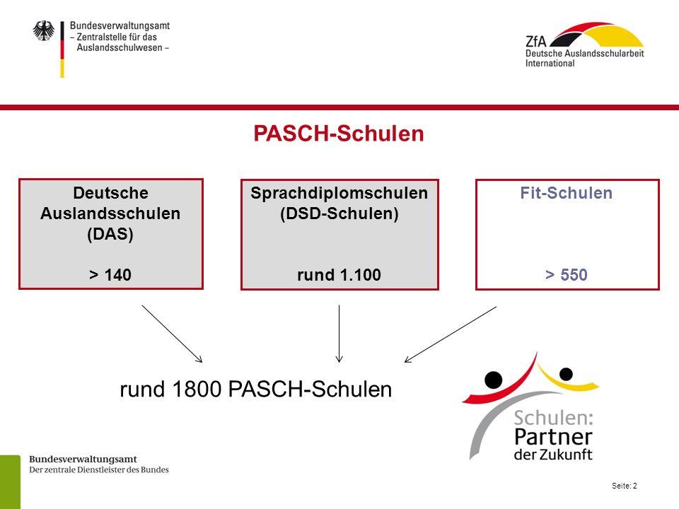 Seite: 2 Deutsche Auslandsschulen (DAS) > 140 Sprachdiplomschulen (DSD-Schulen) rund 1.100 Fit-Schulen > 550 rund 1800 PASCH-Schulen PASCH-Schulen