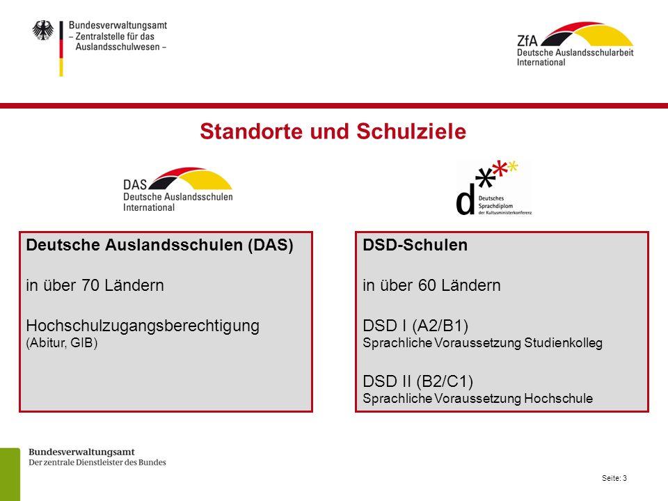 Seite: 3 Deutsche Auslandsschulen (DAS) in über 70 Ländern Hochschulzugangsberechtigung (Abitur, GIB) DSD-Schulen in über 60 Ländern DSD I (A2/B1) Spr
