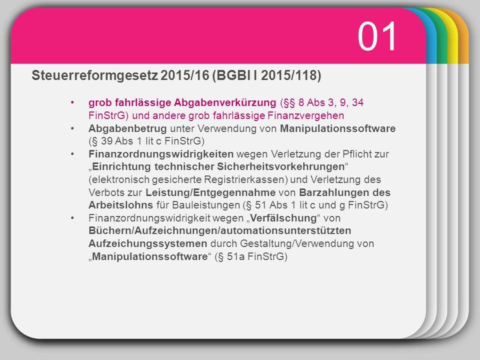 """WINTER Template 01 Steuerreformgesetz 2015/16 (BGBl I 2015/118) grob fahrlässige Abgabenverkürzung (§§ 8 Abs 3, 9, 34 FinStrG) und andere grob fahrlässige Finanzvergehen Abgabenbetrug unter Verwendung von Manipulationssoftware (§ 39 Abs 1 lit c FinStrG) Finanzordnungswidrigkeiten wegen Verletzung der Pflicht zur """"Einrichtung technischer Sicherheitsvorkehrungen (elektronisch gesicherte Registrierkassen) und Verletzung des Verbots zur Leistung/Entgegennahme von Barzahlungen des Arbeitslohns für Bauleistungen (§ 51 Abs 1 lit c und g FinStrG) Finanzordnungswidrigkeit wegen """"Verfälschung von Büchern/Aufzeichnungen/automationsunterstützten Aufzeichungssystemen durch Gestaltung/Verwendung von """"Manipulationssoftware (§ 51a FinStrG)"""