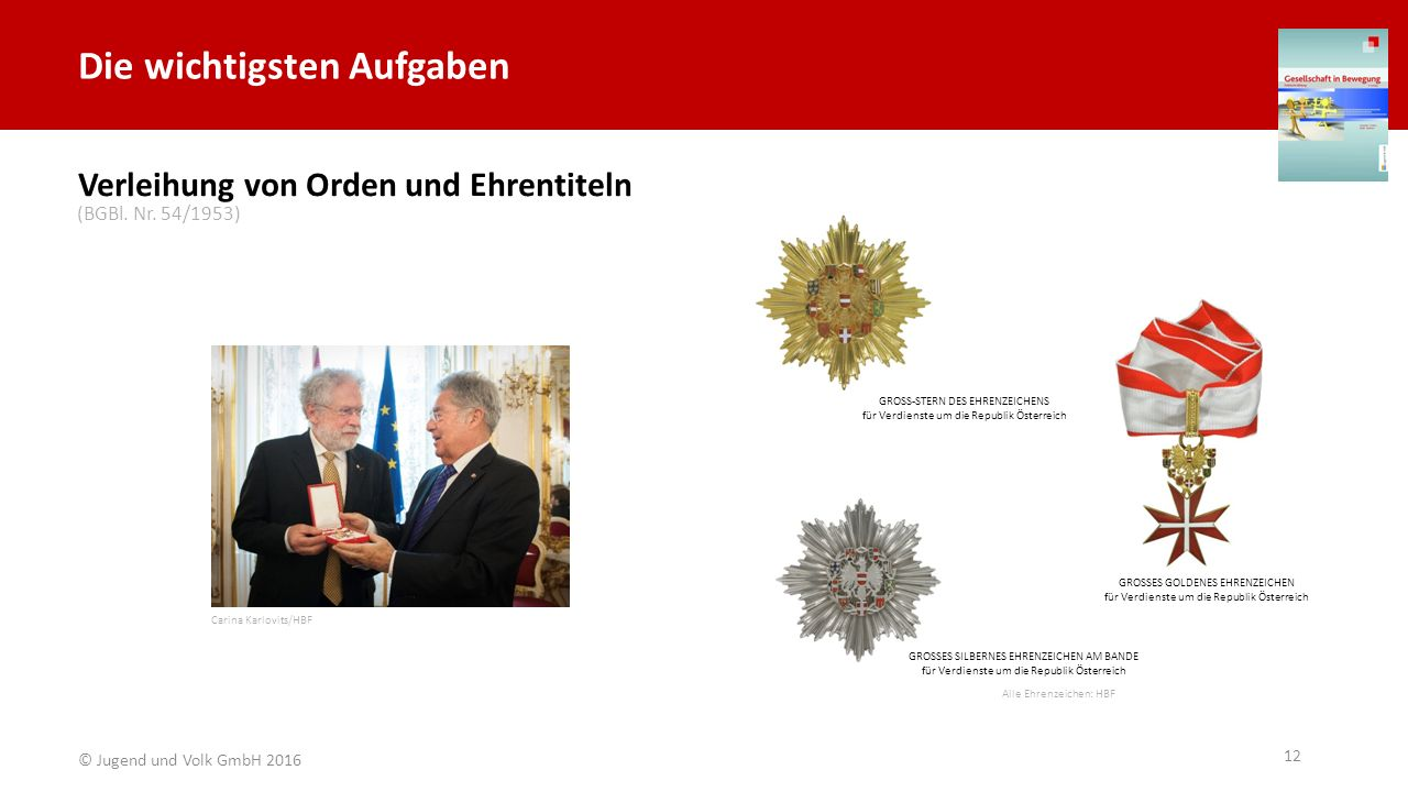 Die wichtigsten Aufgaben GROSS-STERN DES EHRENZEICHENS für Verdienste um die Republik Österreich GROSSES GOLDENES EHRENZEICHEN für Verdienste um die R