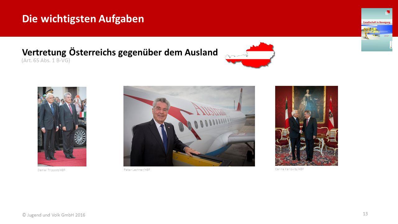 Die wichtigsten Aufgaben Vertretung Österreichs gegenüber dem Ausland Daniel Trippolt/HBF Carina Karlovits/HBF Peter Lechner/HBF (Art. 65 Abs. 1 B-VG)