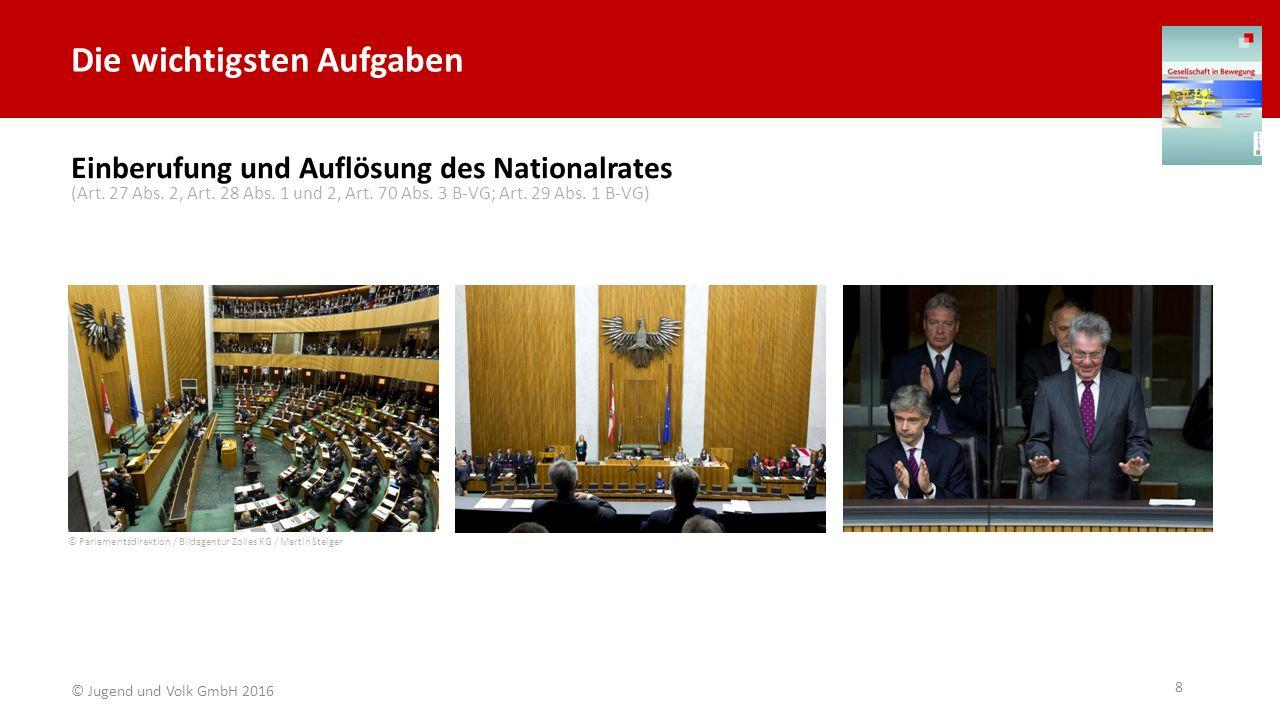 Die wichtigsten Aufgaben Einberufung und Auflösung des Nationalrates © Parlamentsdirektion / Bildagentur Zolles KG / Martin Steiger (Art. 27 Abs. 2, A