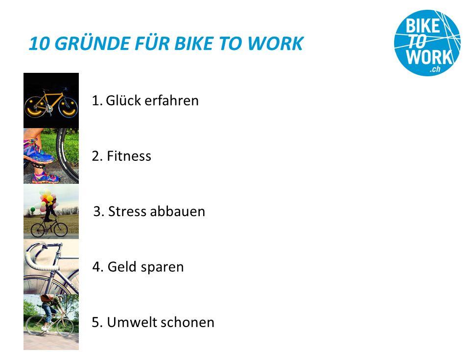 10 GRÜNDE FÜR BIKE TO WORK 1.Glück erfahren 2. Fitness 3.