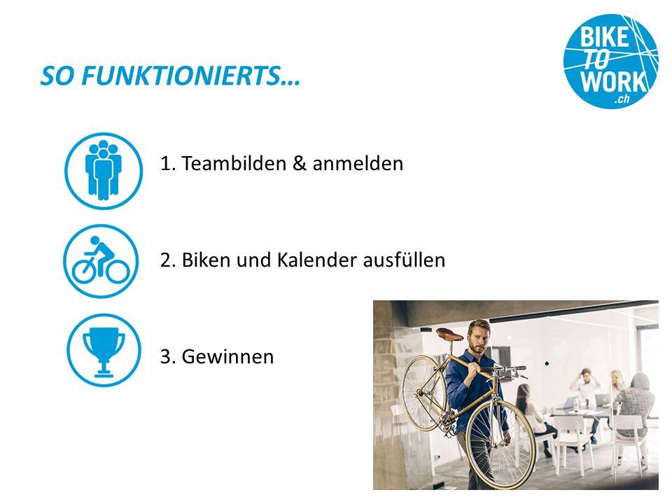 SO FUNKTIONIERTS… 1. Teambilden & anmelden 2. Biken und Kalender ausfüllen 3. Gewinnen