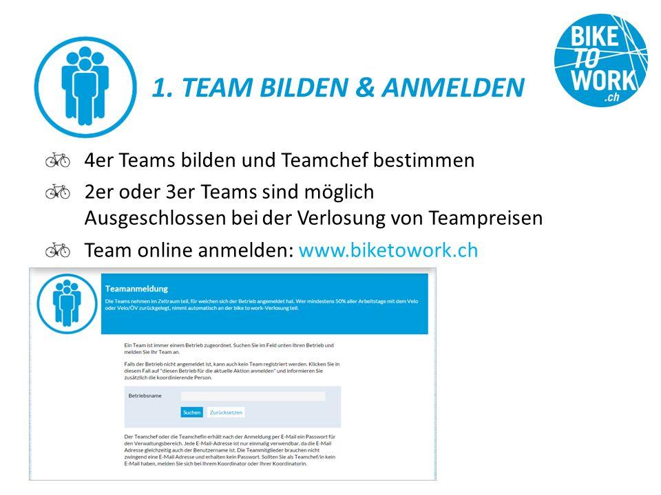 1. TEAM BILDEN & ANMELDEN 4er Teams bilden und Teamchef bestimmen 2er oder 3er Teams sind möglich Ausgeschlossen bei der Verlosung von Teampreisen Tea