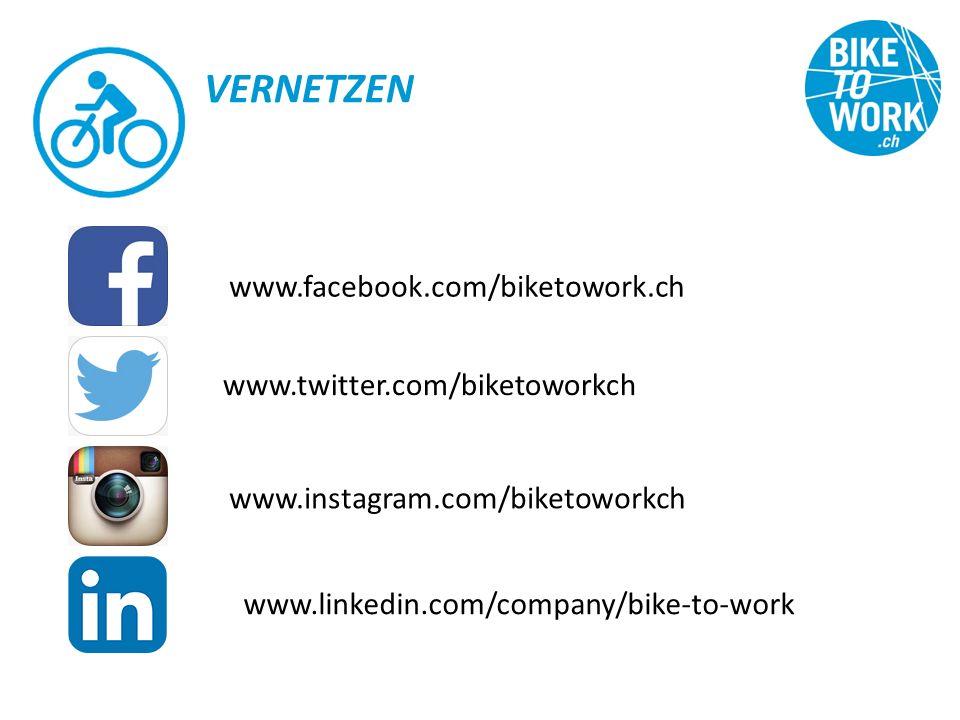 VERNETZEN www.facebook.com/biketowork.ch www.twitter.com/biketoworkch www.instagram.com/biketoworkch www.linkedin.com/company/bike-to-work