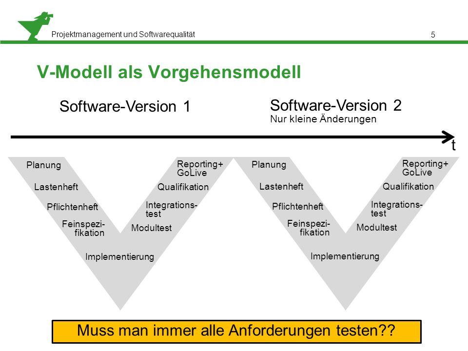 Projektmanagement und Softwarequalität 5 V-Modell als Vorgehensmodell Software-Version 1 Software-Version 2 Nur kleine Änderungen Planung Lastenheft P