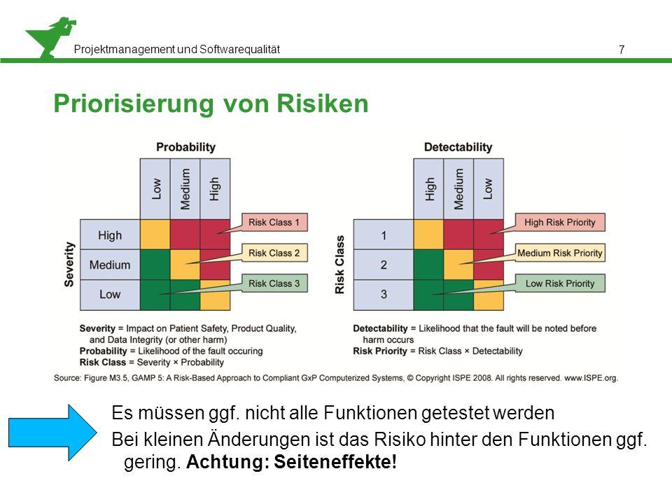 Projektmanagement und Softwarequalität 7 Priorisierung von Risiken Es müssen ggf. nicht alle Funktionen getestet werden Bei kleinen Änderungen ist das