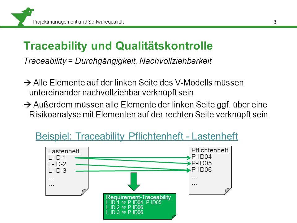 Projektmanagement und Softwarequalität 8 Traceability und Qualitätskontrolle Traceability = Durchgängigkeit, Nachvollziehbarkeit  Alle Elemente auf der linken Seite des V-Modells müssen untereinander nachvollziehbar verknüpft sein  Außerdem müssen alle Elemente der linken Seite ggf.