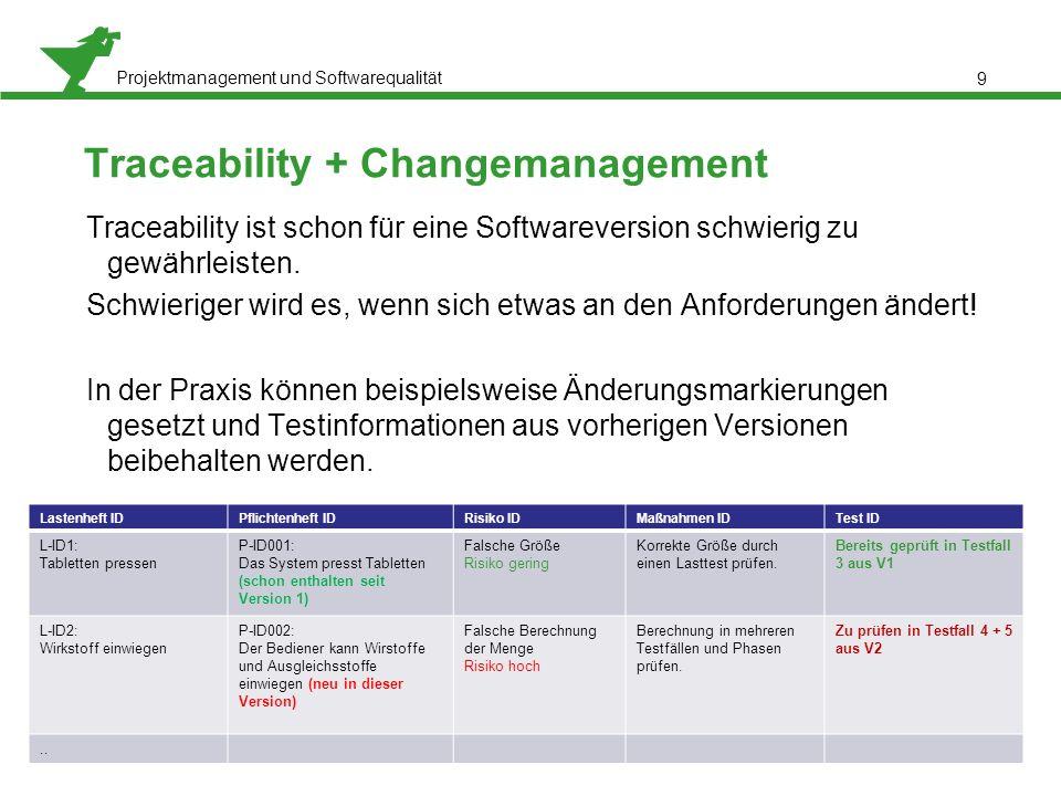 Projektmanagement und Softwarequalität 9 Traceability + Changemanagement Traceability ist schon für eine Softwareversion schwierig zu gewährleisten. S