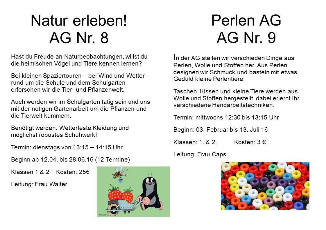 Natur erleben. AG Nr.
