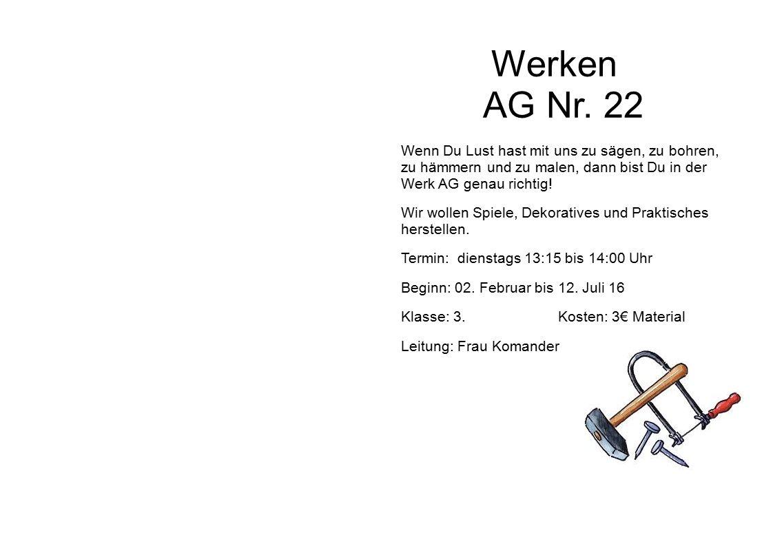 Werken AG Nr.