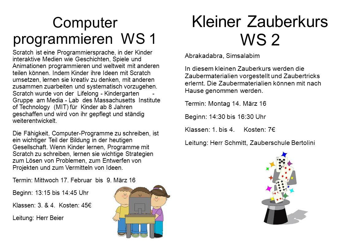 Computer programmieren WS 1 Scratchist eine Programmiersprache, in der Kinder interaktive Medien wie Geschichten, Spiele und Animationen programmieren und weltweit mit anderen teilen können.
