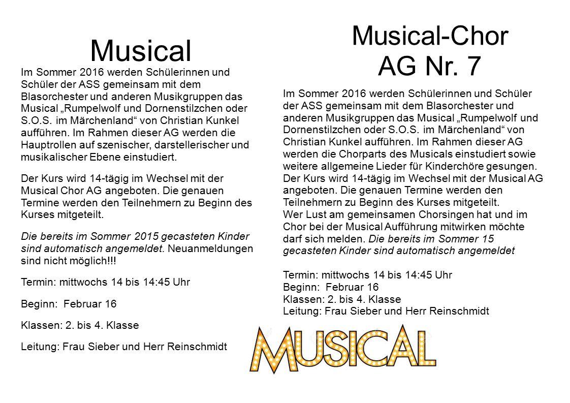 """Musical Im Sommer 2016 werden Schülerinnen und Schüler der ASS gemeinsam mit dem Blasorchester und anderen Musikgruppen das Musical """"Rumpelwolf und Dornenstilzchen oder S.O.S."""
