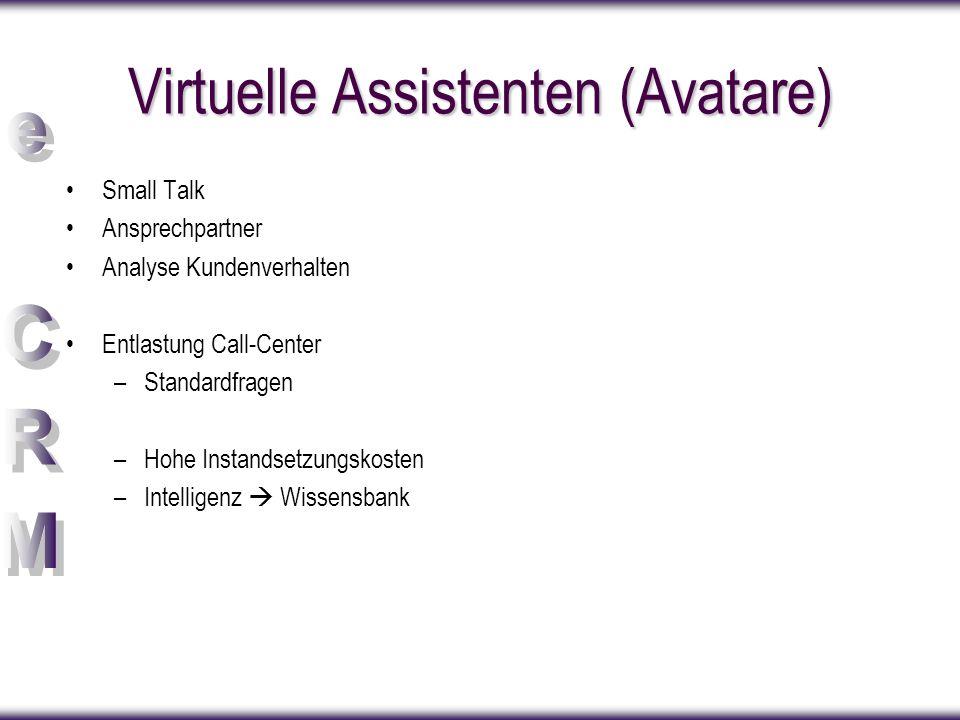 Virtuelle Assistenten (Avatare) Small Talk Ansprechpartner Analyse Kundenverhalten Entlastung Call-Center –Standardfragen –Hohe Instandsetzungskosten –Intelligenz  Wissensbank