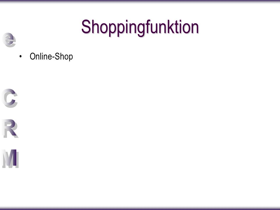 Shoppingfunktion Online-Shop