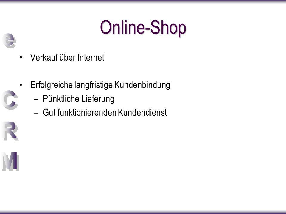 Online-Shop Verkauf über Internet Erfolgreiche langfristige Kundenbindung –Pünktliche Lieferung –Gut funktionierenden Kundendienst