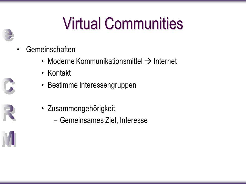 Virtual Communities Gemeinschaften Moderne Kommunikationsmittel  Internet Kontakt Bestimme Interessengruppen Zusammengehörigkeit –Gemeinsames Ziel, I