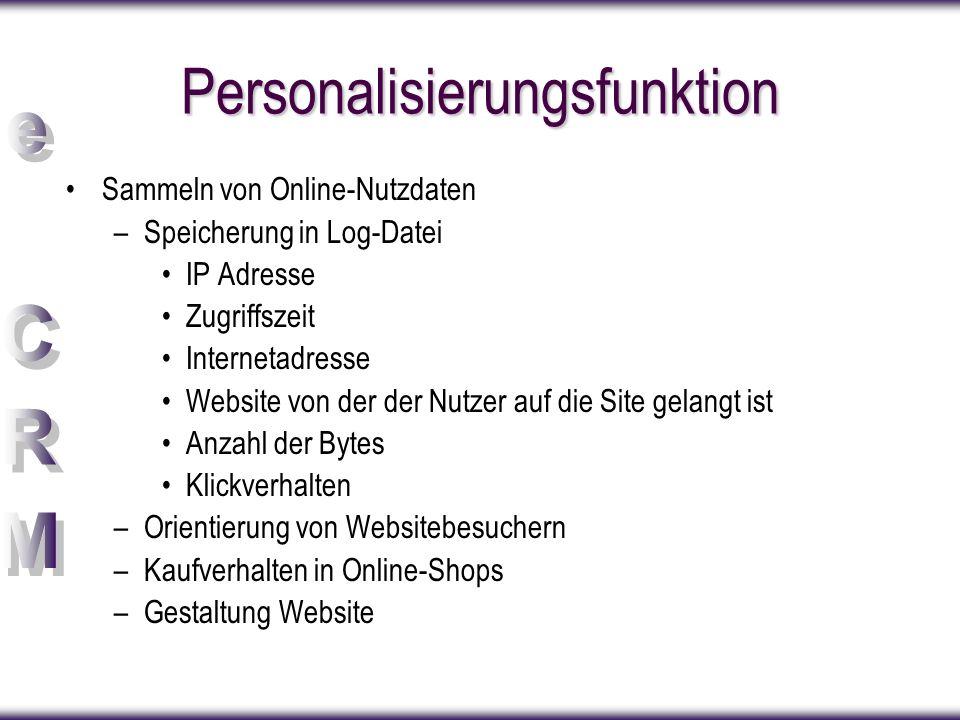 Personalisierungsfunktion Sammeln von Online-Nutzdaten –Speicherung in Log-Datei IP Adresse Zugriffszeit Internetadresse Website von der der Nutzer au