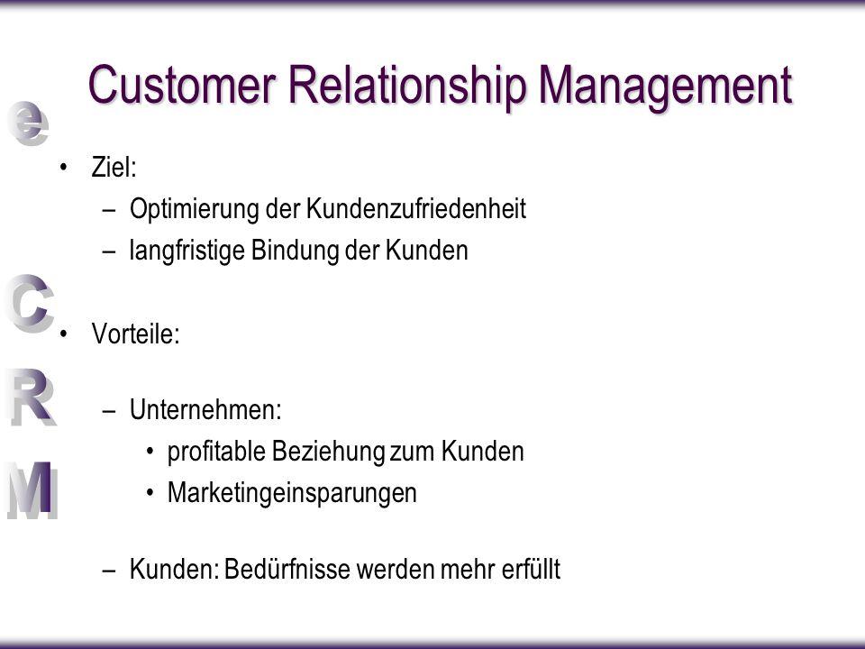 Customer Relationship Management Ziel: –Optimierung der Kundenzufriedenheit –langfristige Bindung der Kunden Vorteile: –Unternehmen: profitable Bezieh