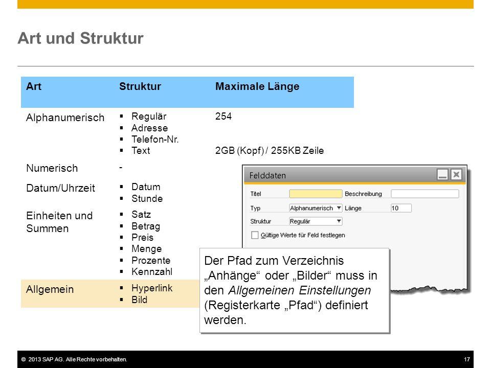 ©2013 SAP AG. Alle Rechte vorbehalten.17 ArtStrukturMaximale Länge Alphanumerisch  Regulär  Adresse  Telefon-Nr.  Text 254 2GB (Kopf) / 255KB Zeil