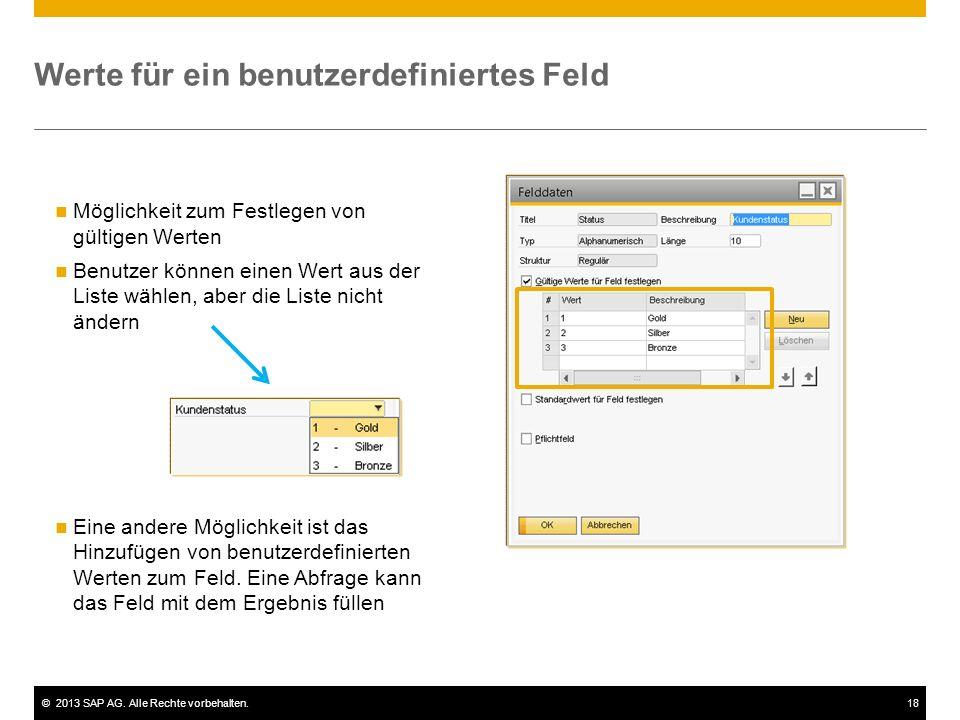 ©2013 SAP AG. Alle Rechte vorbehalten.18 Möglichkeit zum Festlegen von gültigen Werten Benutzer können einen Wert aus der Liste wählen, aber die Liste
