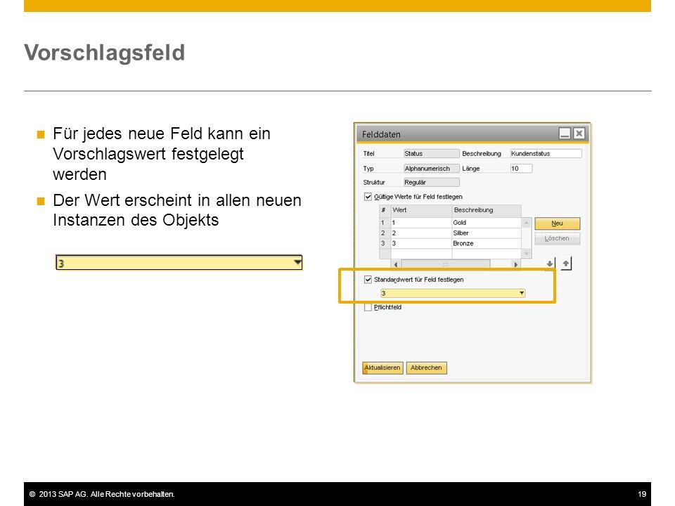 ©2013 SAP AG. Alle Rechte vorbehalten.19 Für jedes neue Feld kann ein Vorschlagswert festgelegt werden Der Wert erscheint in allen neuen Instanzen des