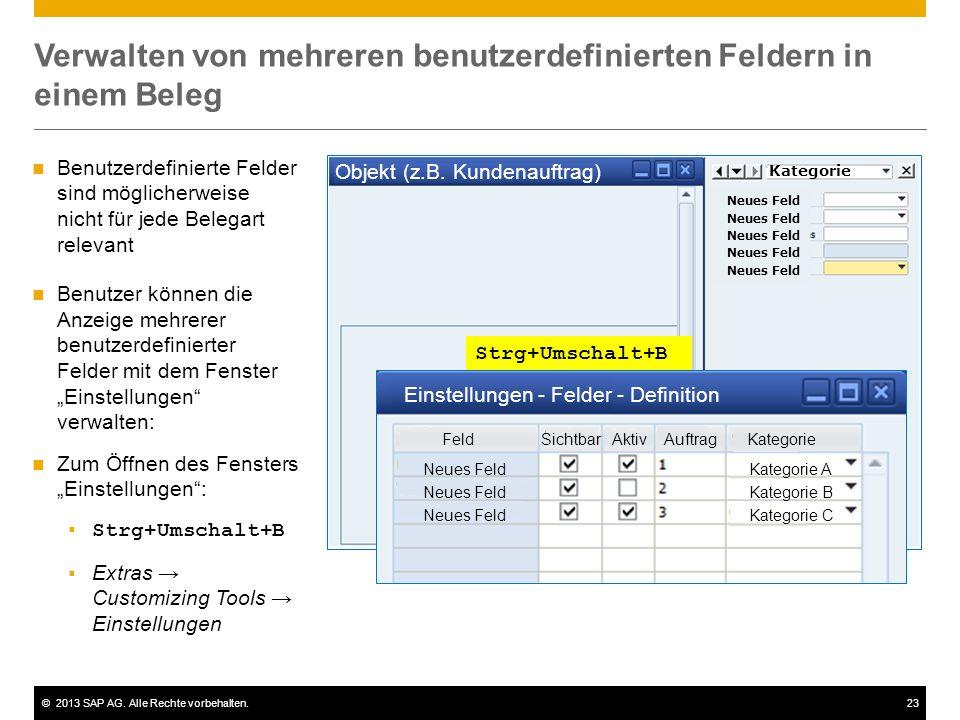 ©2013 SAP AG. Alle Rechte vorbehalten.23 Verwalten von mehreren benutzerdefinierten Feldern in einem Beleg Objekt (z.B. Kundenauftrag) Neues Feld Kate
