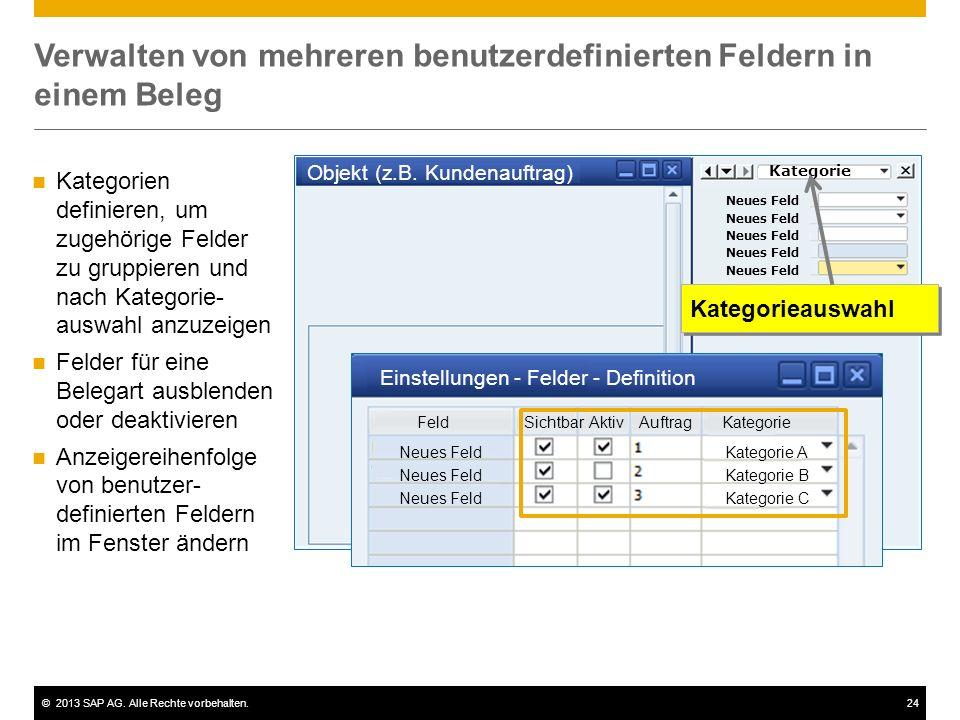 ©2013 SAP AG. Alle Rechte vorbehalten.24 Verwalten von mehreren benutzerdefinierten Feldern in einem Beleg Objekt (z.B. Kundenauftrag) Neues Feld Kate