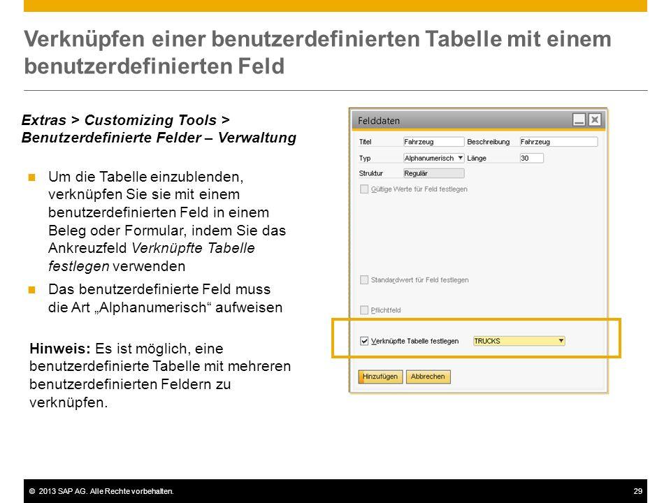 ©2013 SAP AG. Alle Rechte vorbehalten.29 Verknüpfen einer benutzerdefinierten Tabelle mit einem benutzerdefinierten Feld Um die Tabelle einzublenden,