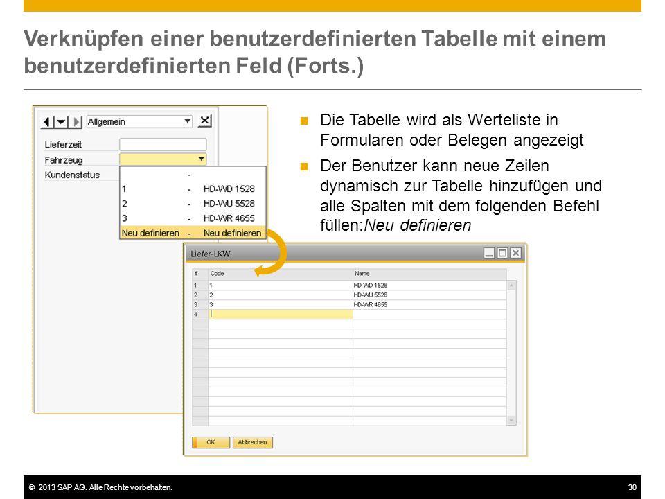 ©2013 SAP AG. Alle Rechte vorbehalten.30 Verknüpfen einer benutzerdefinierten Tabelle mit einem benutzerdefinierten Feld (Forts.) Die Tabelle wird als