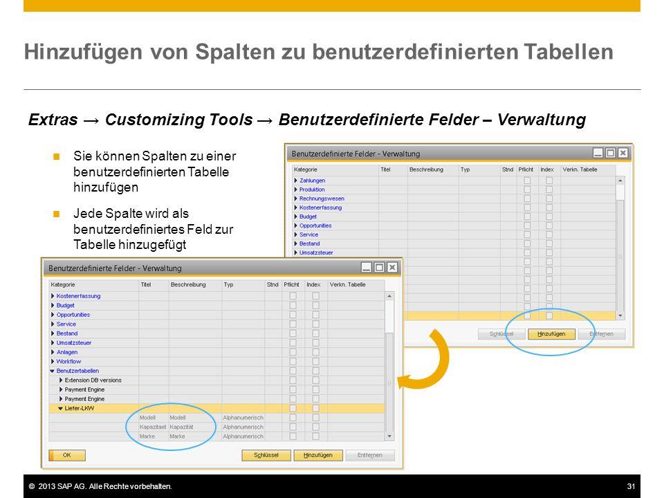 ©2013 SAP AG. Alle Rechte vorbehalten.31 Hinzufügen von Spalten zu benutzerdefinierten Tabellen Sie können Spalten zu einer benutzerdefinierten Tabell
