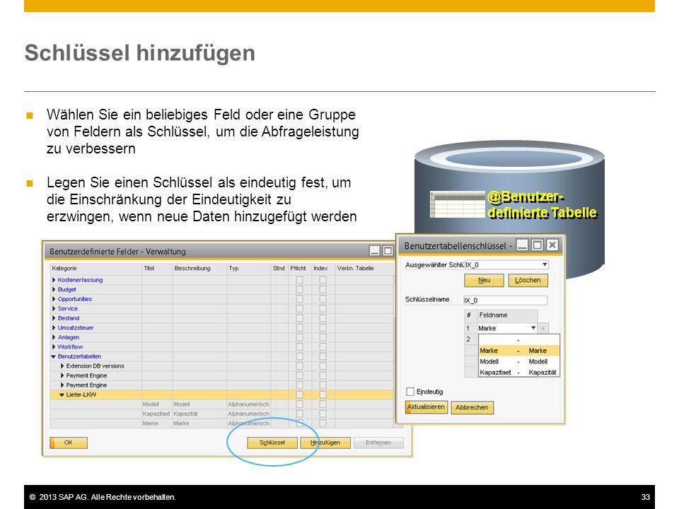 ©2013 SAP AG. Alle Rechte vorbehalten.33 Schlüssel hinzufügen @Benutzer- definierte Tabelle Wählen Sie ein beliebiges Feld oder eine Gruppe von Felder