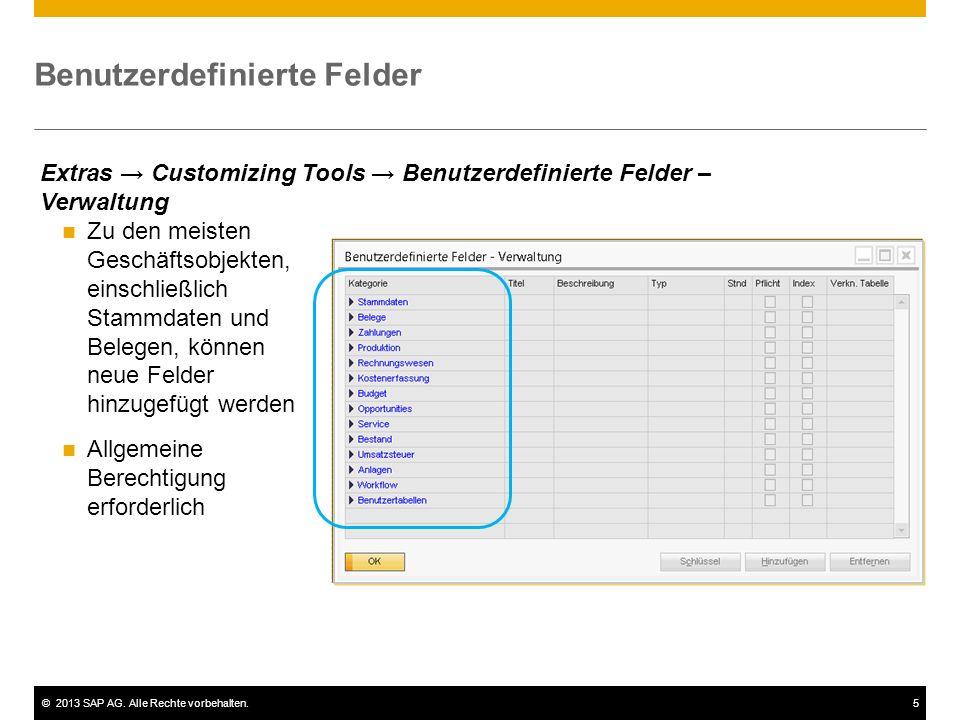 ©2013 SAP AG. Alle Rechte vorbehalten.5 Benutzerdefinierte Felder Zu den meisten Geschäftsobjekten, einschließlich Stammdaten und Belegen, können neue